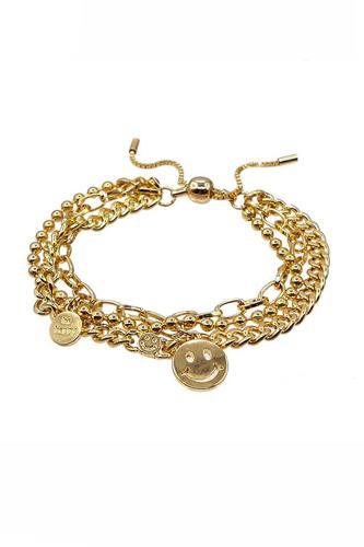 Metal Layered Smile Charm Bracelet