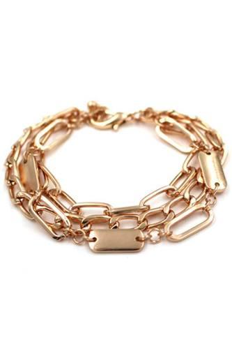 Oval Link Layered Metal Bracelet