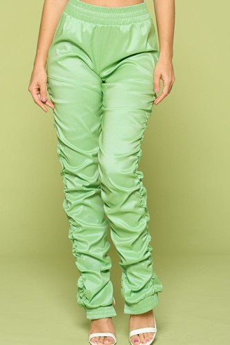Leather Pu Ruched Pants