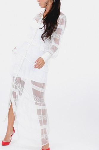 Stripe Pleated Long Sheer Shirt Dress