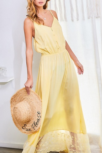 Adjustable Shoulder Strap Button Down Waist Elastic Bottom Contrast Lace Maxi Dress