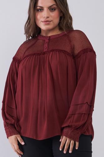 Plus Size Boho Sheer Net Mesh Balloon Sleeve Detail Relaxed Top