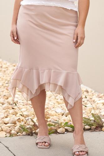 Plus Beige High-waisted Fitted Asymmetrical Flare Hem Midi Pencil Skirt