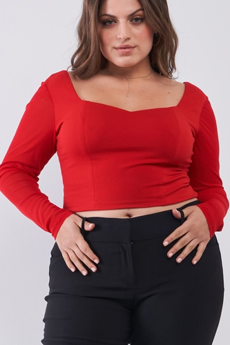 Plus Size Crimson Red Long Mesh Sleeve Sweetheart Neck Detail Structured Crop Top