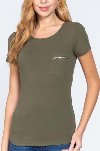 Short Slv Top W/zipper Pocket