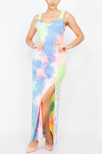 Tie-dye Ruffled Ribbed Maxi Dress