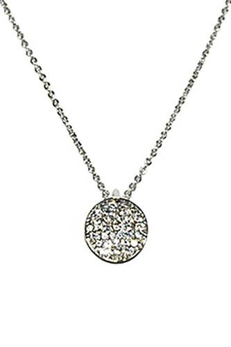 Metal Chain Rhinestone Round Pendant Necklace