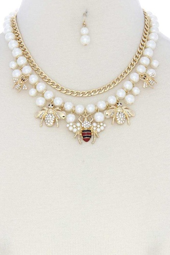 Bee Charm Pearl Bead Cuban Link Layered Necklace