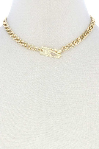 Hammered Rectangle Toggl Clasp Necklace