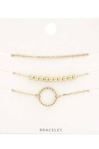 Twisted Circle Metal Bead Bracelet Set