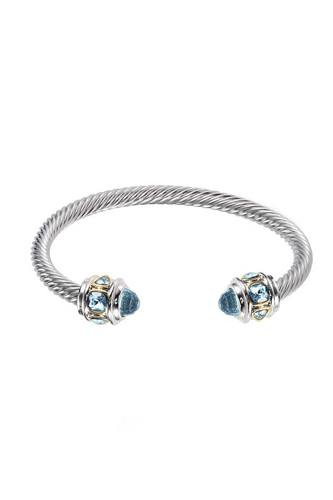 Metal Color Stone Open Cuff Bracelet