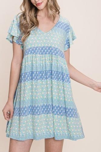 Cute And Flirty Floral Printed Babydoll Mini Dress