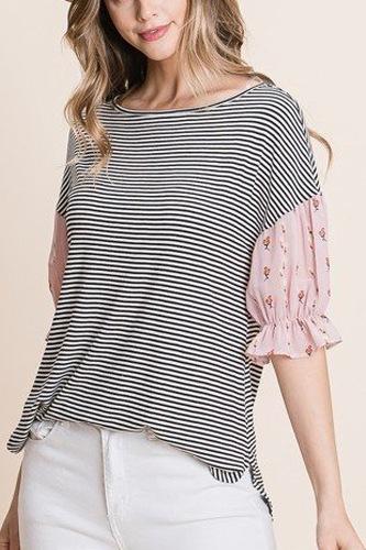 Cute Striped Curved Hem Casual Top