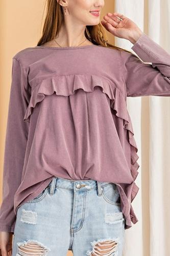 Long Sleeve Ruffled Detailing Oil Washed Knit Tunic
