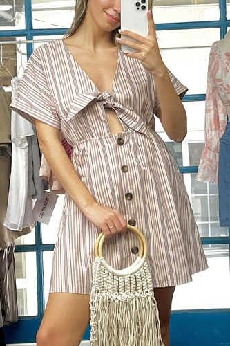 So 90's! Striped Self-tie Front Detail Short Sleeve Button Down Mini Shirt Dress