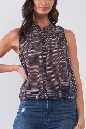 Purple & Multi Sleeveless Mock Neck Front Button Down Sheer Blouse Top