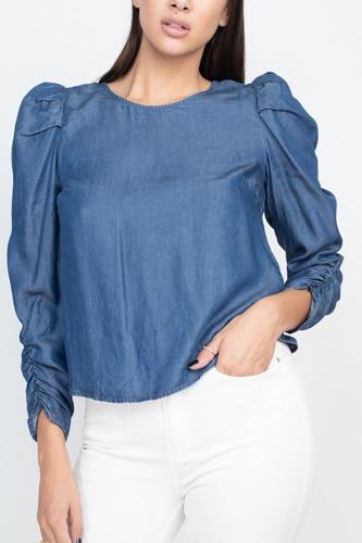 Shirring Puff Sleeves Denim Top