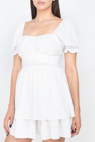 Puff Sleeves Frill Dress