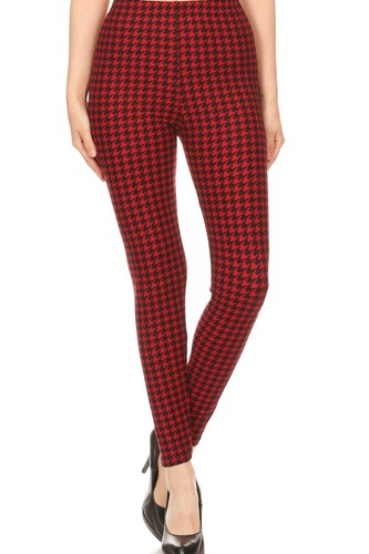 Hounds Tooth Print, High Rise, Fitted Leggings, With An Elastic Waistband