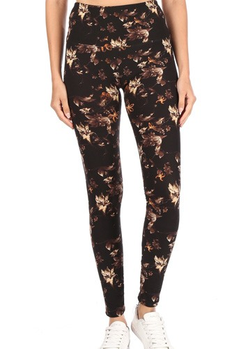 5-inch Long Yoga Style Banded Lined Multi Printed Knit Legging With High Waist