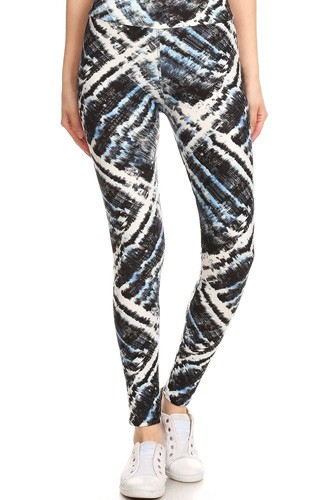 Yoga Style Banded Lined Tie Dye Printed Knit Legging With High Waist