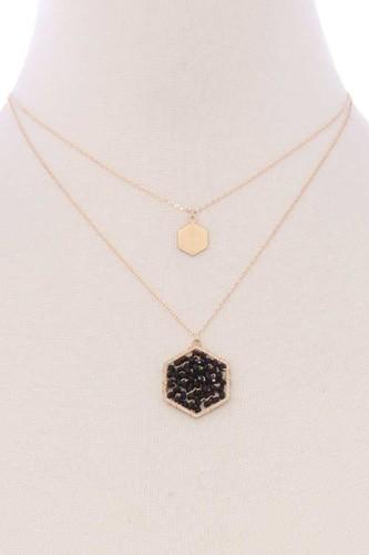 2 Layered Geometric Glass Bead Pendant Necklace