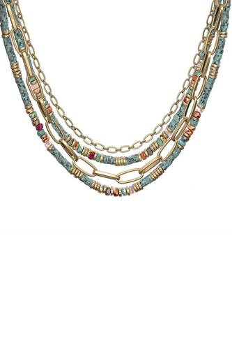 Fashion 4 Layered Metal Chain Stone Bead Necklace