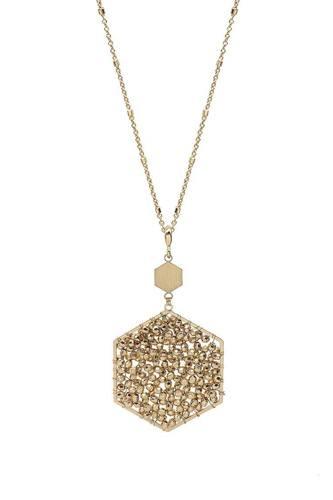 Fashion Glass Bead Hexagon Pendant Long Necklace