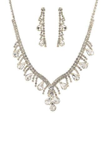 Fashion Crystal Gem Tear Shape Necklace And Earring Set