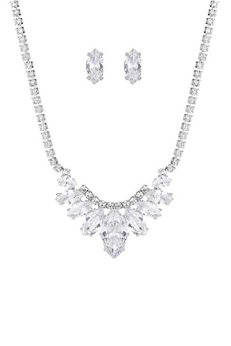 Stylish Crystal Rhinestone Necklace And Earring Set