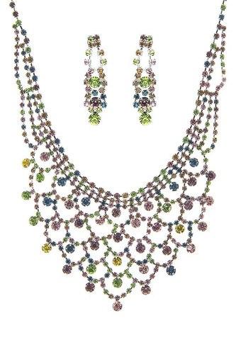 Fashion Design Rhinestone Necklace And Earring Set