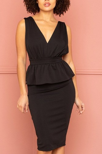 Shimmer Peplum Midi Dress