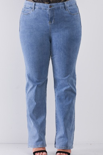 Plus Mid-wash Blue Denim Low-rise Wide-leg Upsized Basic Dad Jeans