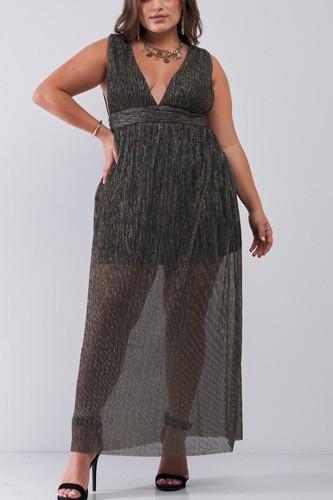 Plus Black & Gold V-neck Sleeveless Pleated Fabric Maxi Dress