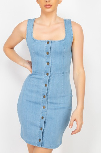 Denim Button-front Mini Dress