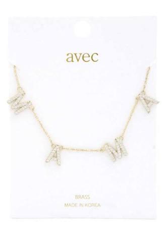 Mama Rhinestone Metal Necklace