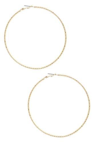 Lined Metal Hoop Earring