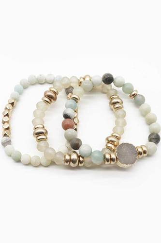 Natural Stone Bead Stretch Multi Bracelet