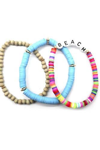 Fashion Wood Rubber Disc Bead Beach Letter Stretch Multi Bracelet