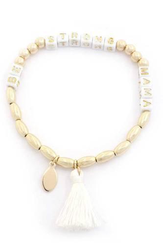 Be Strong Mama Beaded Tassel Bracelet