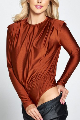Metallic Padded Shoulder Bodysuit