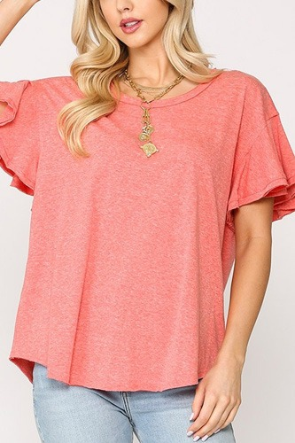 Solid Round Neck Frill Sleeve Top With Scoop Hem