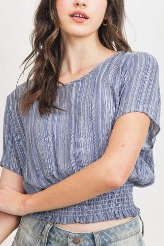 Woven Printed Crinkle Gauze Waist Smocking Short Sleeve Top