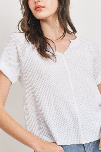 Waffle Raw Edge V-neck Rolled Up Short Sleeves Top
