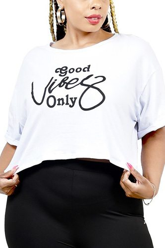 Plus Letter Printed Boxy Crop Top