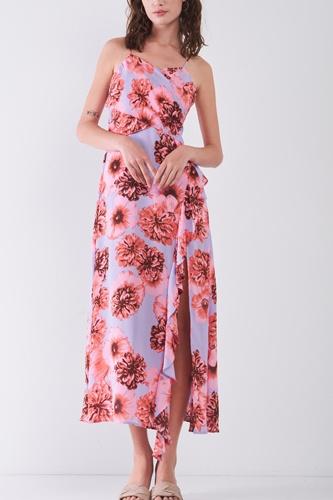 Floral Print Sleeveless Self-tie Wide Wrap Front Ruffle Hem Side Slit Detail Midi Dress