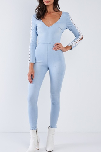 Light Blue Long Sleeved White Side Seam Lace Up V-neck Sexy Denim Jumpsuit