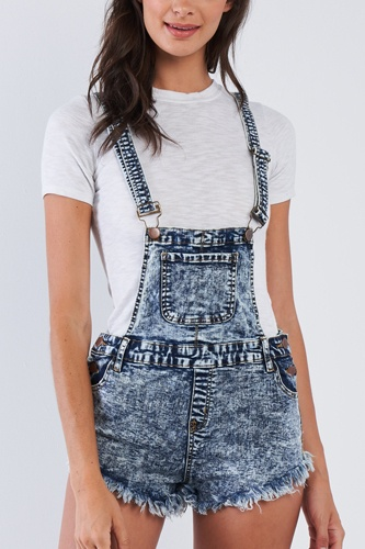 Denim Acid Washed Fringed Mini Short Overall
