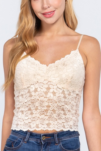 V-neck Scallop Lace Cami Top