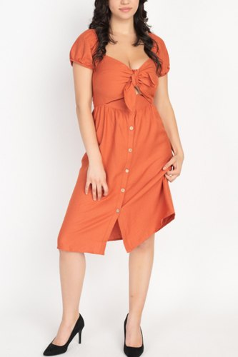 Front Tie Cutout Smocked Dress
